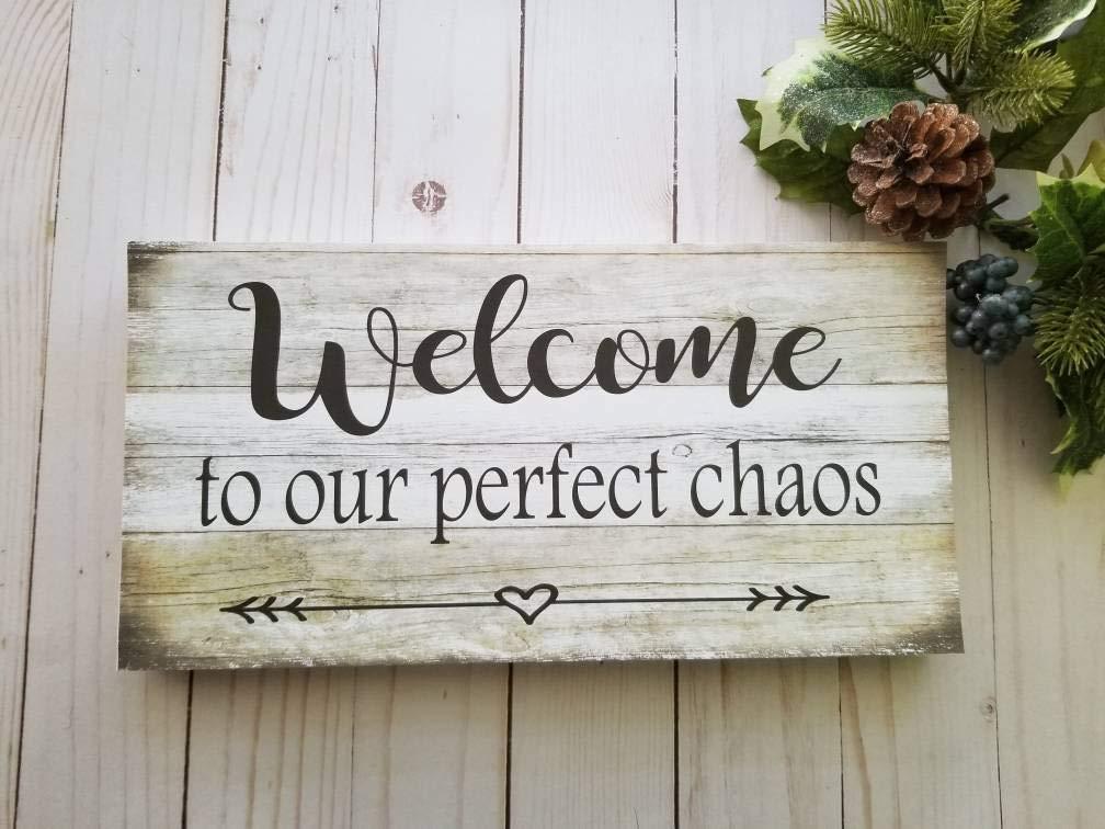 CELYCASY Cartel de Bienvenida a Nuestra casa de Campo con el Texto en inglés «Welcome to Our Home», de la Marca