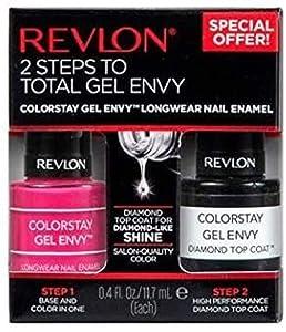 Revlon ColorStay Gel Envy Longwear Nail Polish, with Built-in Base Coat & Glossy Shine Finish, 400 Royal Flush and Diamond Top Coat, 0.4 (2 pack)