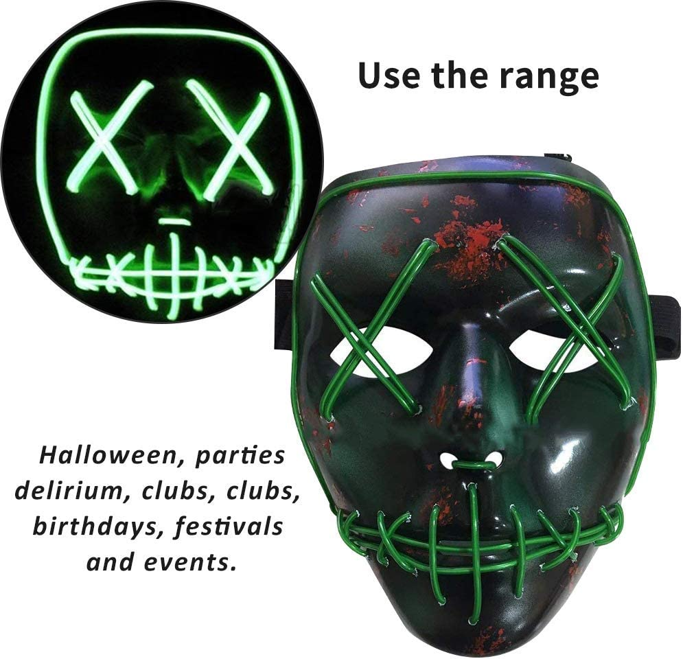 BESTZY LED Glow Mask Horror Scare Halloween Grimace Party Festival Parties Halloween Masques Cosplay Masques,Role-Playing Line Cold Mask,Allumer Masques,EL Wire Masque