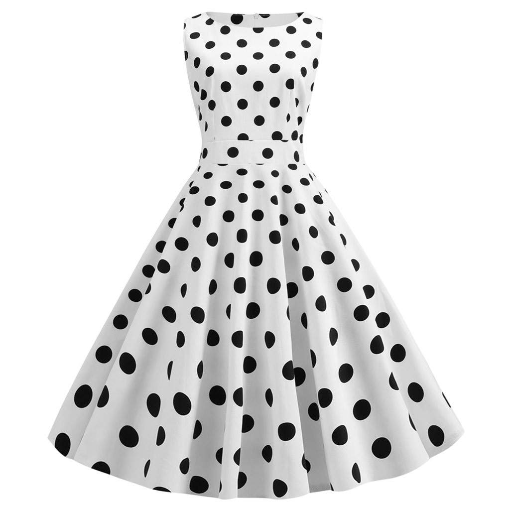 Women Rockabilly Swing Prom Dress 1950s Vintage Dot Print Sleeveless Crew Neck Stretchy Cocktail Evening Party Dress (X-Large, White)