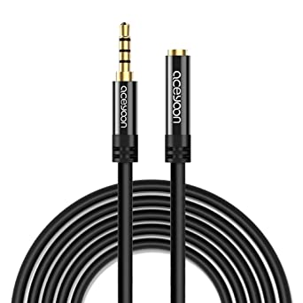 Amazon Com Aceyoon Aux Cord 16ft 5m Trrs Extension Cable 3 5mm Male To Female 4 Pole Aux Headphone Car Stereo Extender With Mic For Smartphone Tablet Speaker Industrial Scientific