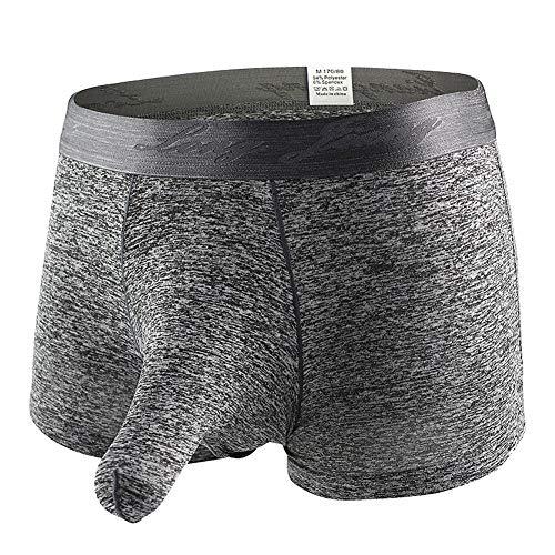 "KAMUON Men's Sexy Separate Pouch Boxer Brief Underwear Sheath Prevent Friction (US M = Asian Tag L : Waist 32""-34"", Black)"