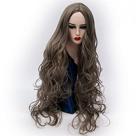 Alta calidad Mujer peluca Ondulado Rizado Ombre resistente al calor larga peluca Disfraz Halloween Party