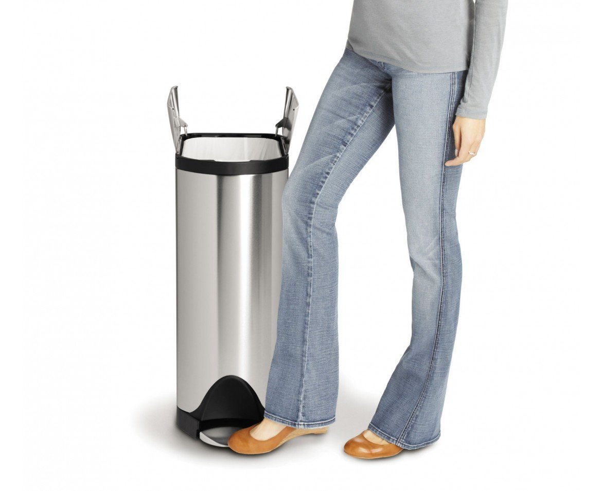 simplehuman 45 Liter/11.9 Gallon Stainless Steel Butterfly Lid Kitchen Step Trash Can, Brushed Stainless Steel