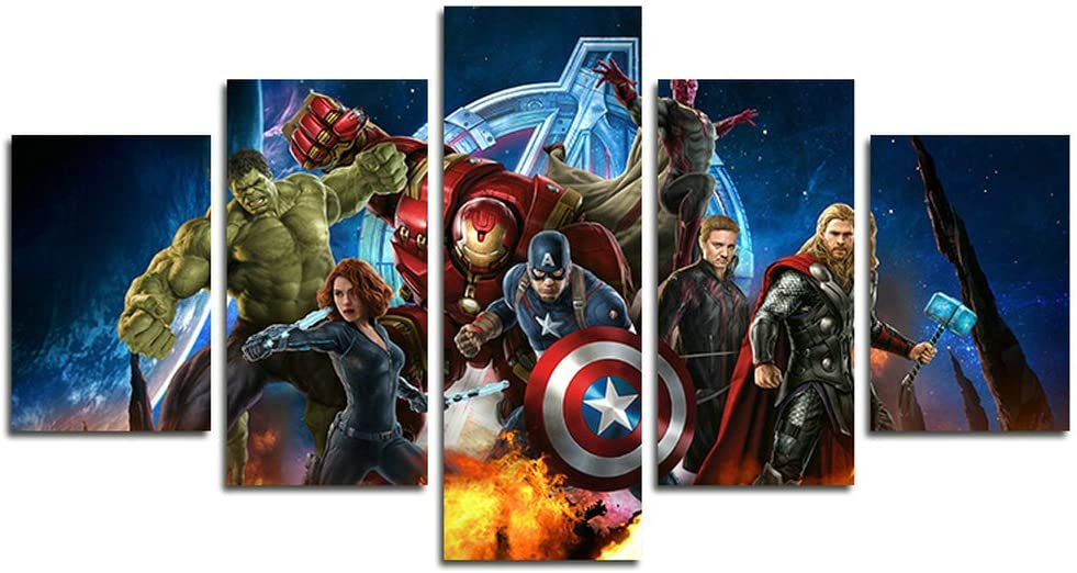 Leyrus 5 Piece Miracle Avenger Ultron Super Hero Canvas Painting for Living Room Home Decor Canvas Art Wall Poster (No Frame) Unframed HM75 Size: 50 inch x30 inch