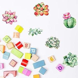 36 Pcs Succulent Decals for Wall, Succulents Classroom Decorations for Teachers Bulletin Board,Succulent Theme Classroom Decor