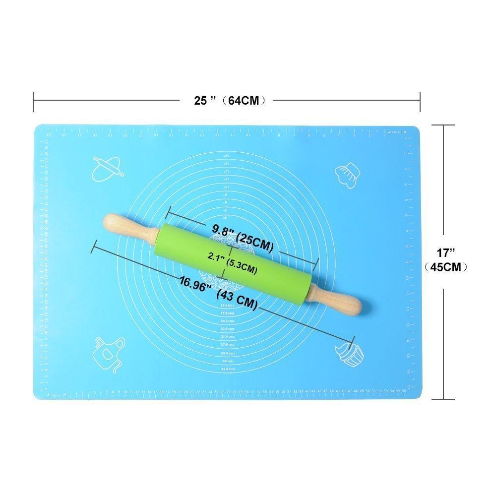 Amazon.com: Creland Non-Stick Silicone Rolling Pin & Large Silicone ...