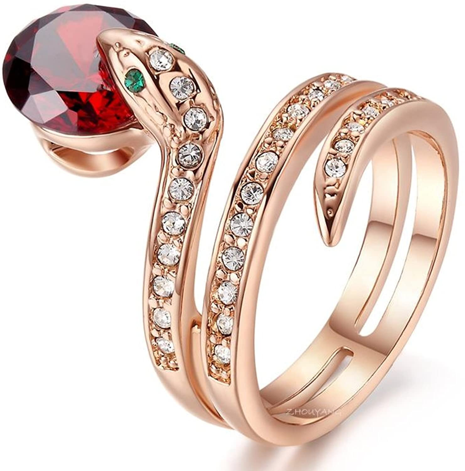 AmaranTeen - Rose Gold Plated Genuine Austrian Crystals Snake Ring