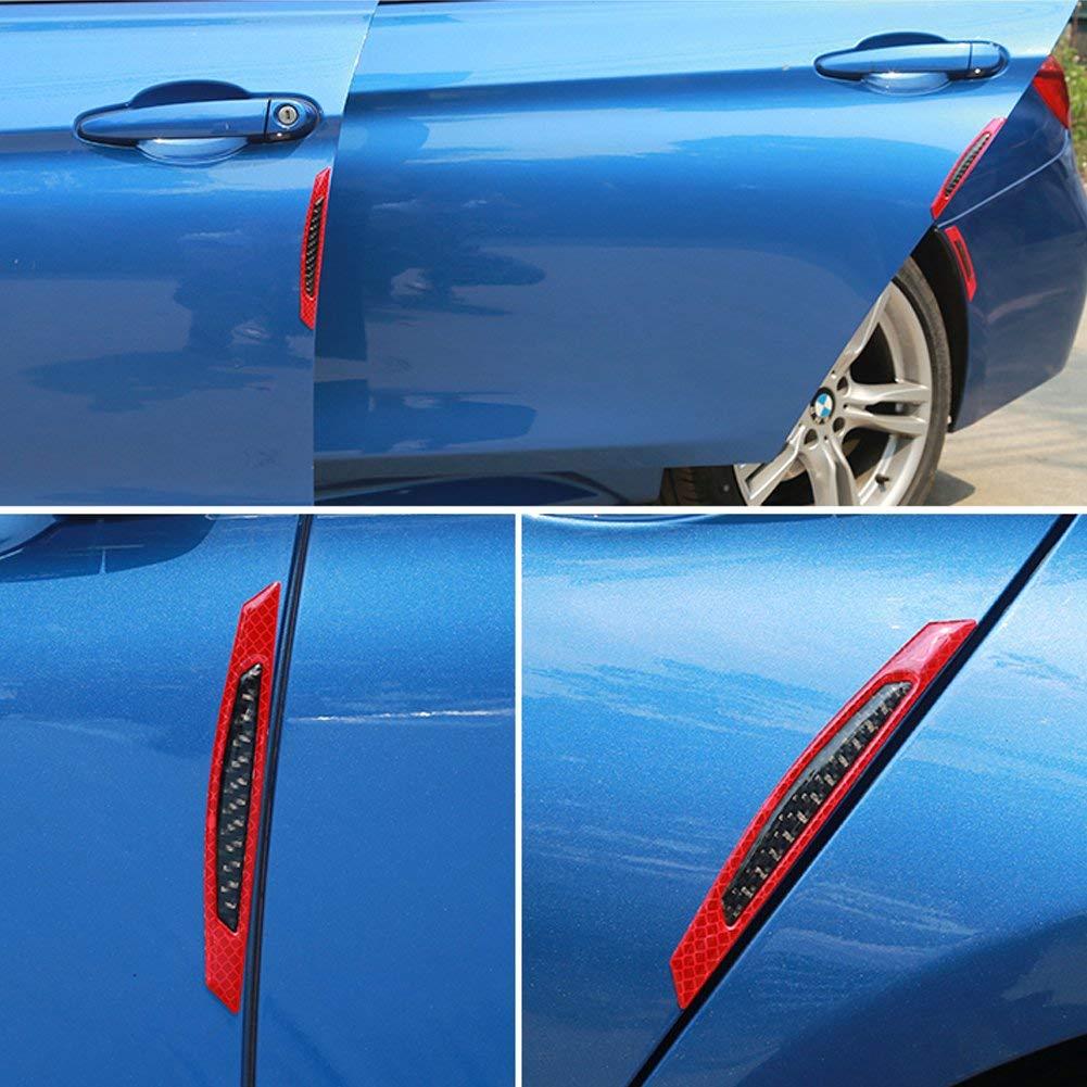 Set Strisce protettive per il bordo della portiera auto Multi protezioni per i colori Buffer Trim Striscia di protezione per modanatura Scratch Protector Reflective Safety Warning 4Pcs rosso