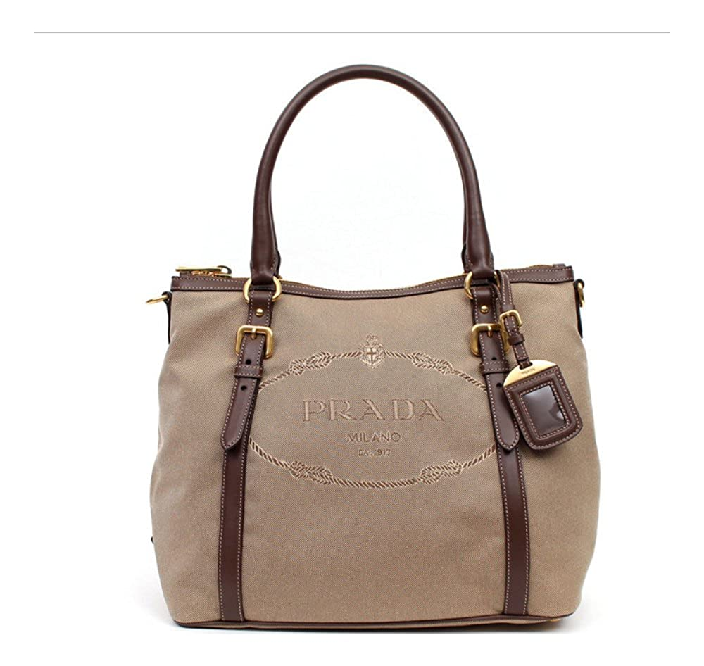 6d39d53419de Prada Canvas and Soft Leather Shoulder Bag - Rope   Burned  Handbags  Amazon .com