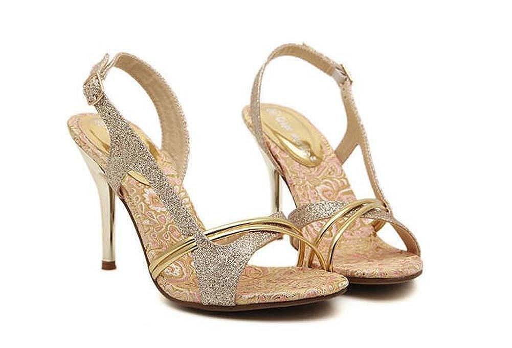 Onfly Pompe Scarpin des Sandales aux Femmes Charmant Couleur dorée Open Toe Talon Haut Creux Slingback Stylet Chaussures habillées Chaussures de Mariage EU Taille 34-39
