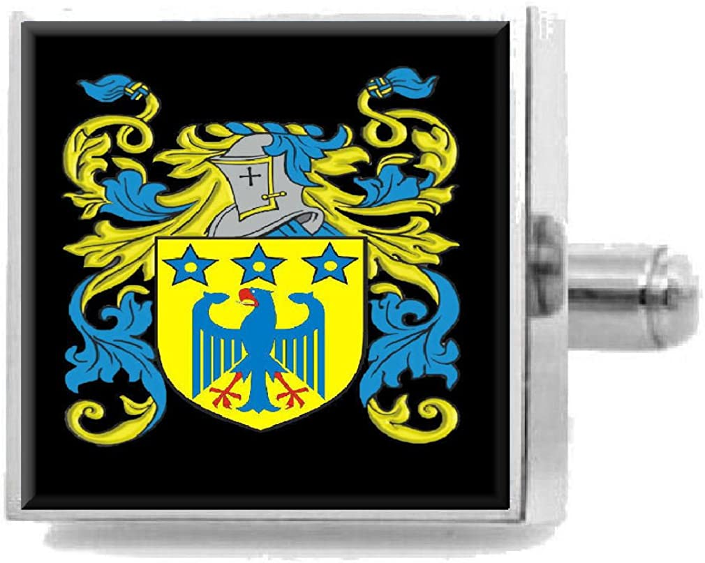Select Gifts Barnaby England Heraldry Crest Sterling Silver Cufflinks Engraved Message Box