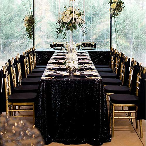 QueenDream 90''x132''Inch sequin (Black Sequin Tablecloth)