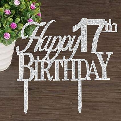 Risehy - Decoración para tarta de 17 cumpleaños, decoración ...