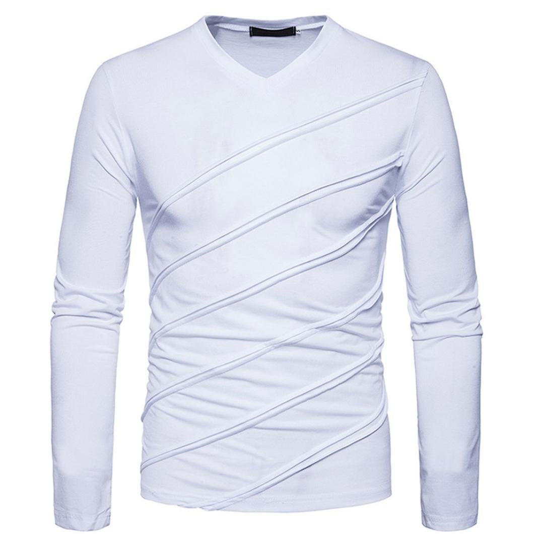 Billila Men Slim Muscle Autumn Winter Long Sleeve Tops Fold Ruched Shirts Blouse
