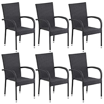 Amazon.de: dasmöbelwerk 6er Set Polyrattan Sessel Stuhl stapelbar ...
