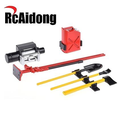 6Pcs RC Decoration Tool Set Kit RC Accessories for 1:10 RC Rock Crawler  1/10 4WD D90 D110 SCX10 Wraith(Red)