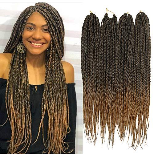 6 Pieces One Pack Brown Medium Box Braids Crochet Hair Crochet Box Braids Kanekalon Synthetic Hair Crotchet Box Braids Hair 22 Inch
