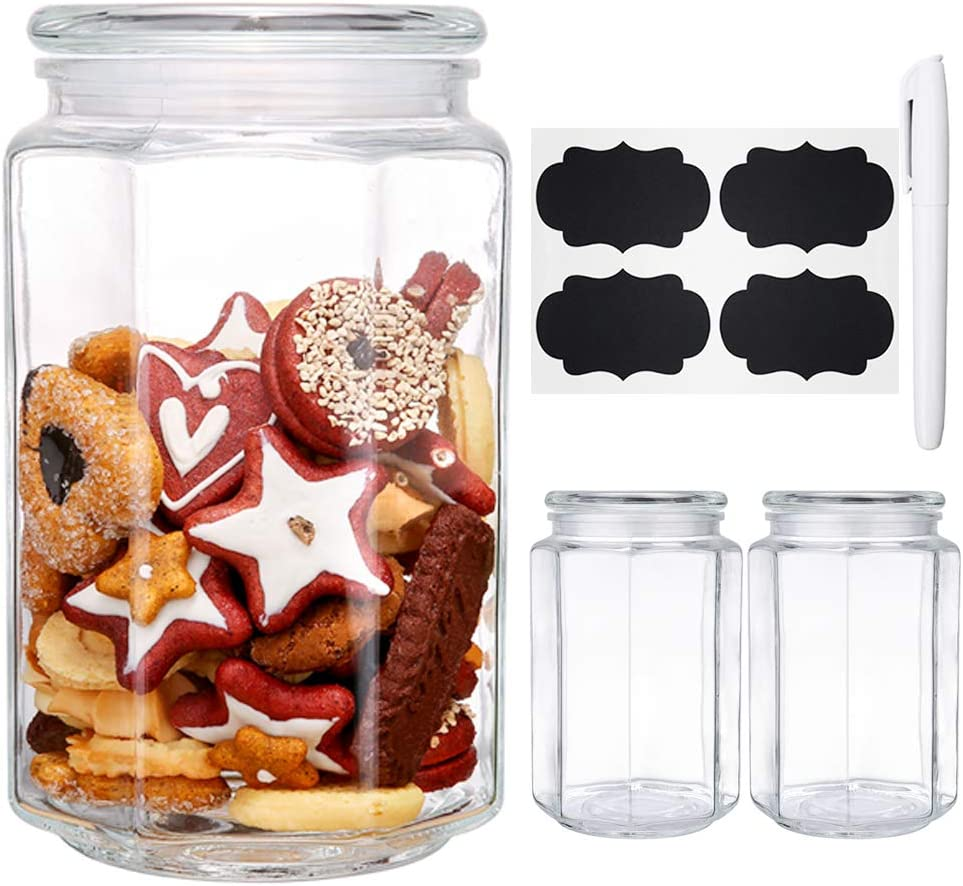 2.5 Quart Glass Jars with Lids, Daitouge Canning Jars - Octagonal Glass Canisters for Food Storage with Extra Blank Labels & Chalkboard Pen, Set of 3