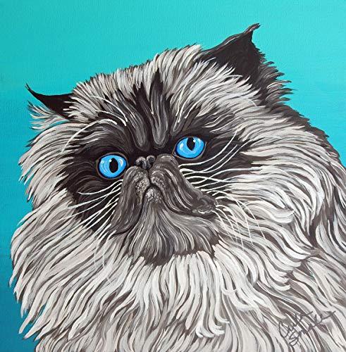 Himalayan Persian Pet Cat Art Original 12 x 12 Painting-free shipping-Carla Smale ()