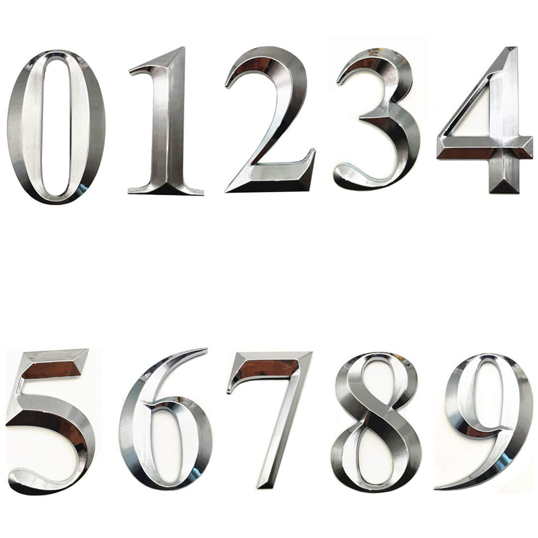 10 Pcs Self Stick Mailbox Numbers 0-9, House Address Number Stickers for Apartment Doors, Office, Hotel Room, Silver Shiny, 2-3/4 Inch High. (10 Pcs(0 to 9), Silver)
