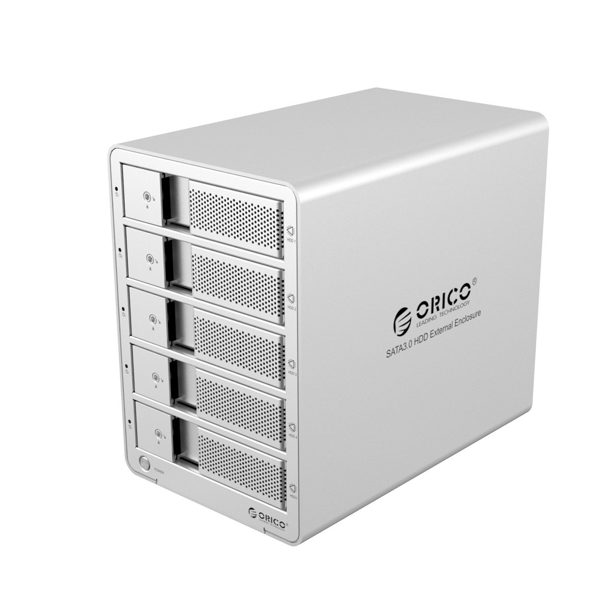 ORICO Tool Free Aluminum USB 3.0 5 bay 3.5-inch SATA Hard Drive Enclosure Support 5x 6TB Drive-Sliver (9558U3)