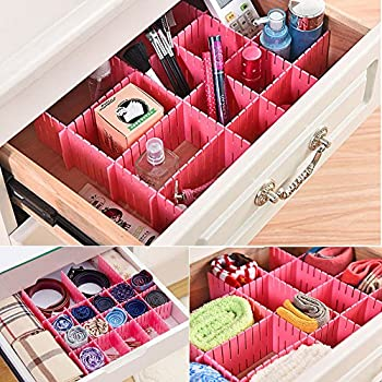 Amazon 8pcs diy plastic grid drawer divider household storage 8 pcs plastic diy grid drawer divider household necessities storage thickening housing spacer sub grid finishing shelves for home tidy closet stationary solutioingenieria Image collections