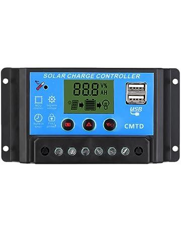Anself - Controlador de carga solar con pantalla LCD Regulador automático del temporizador del panel solar