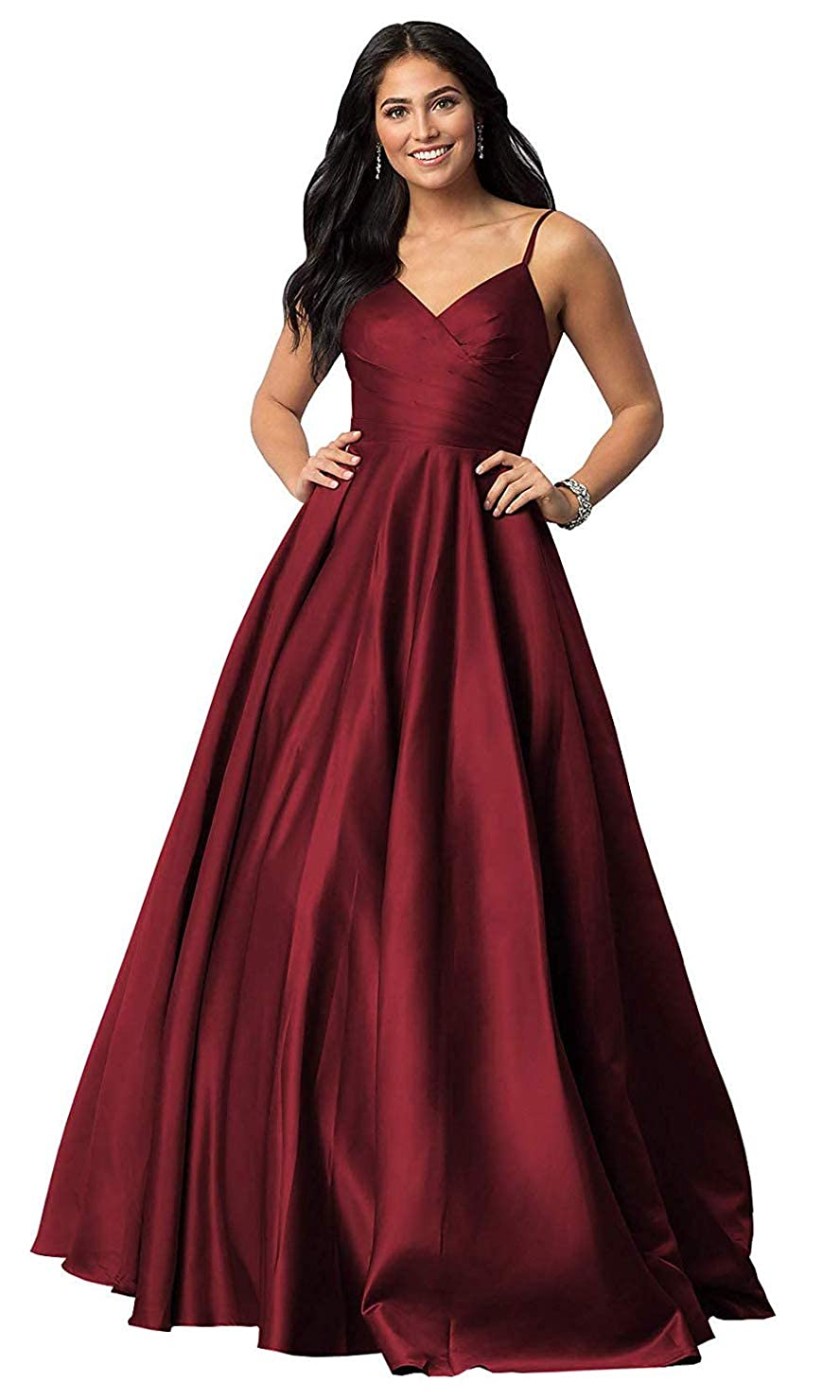 Burgundy FeiYueXinXing Satin VNeck Prom Dresses Long Spaghetti Strap Formal Prom Evening Gown
