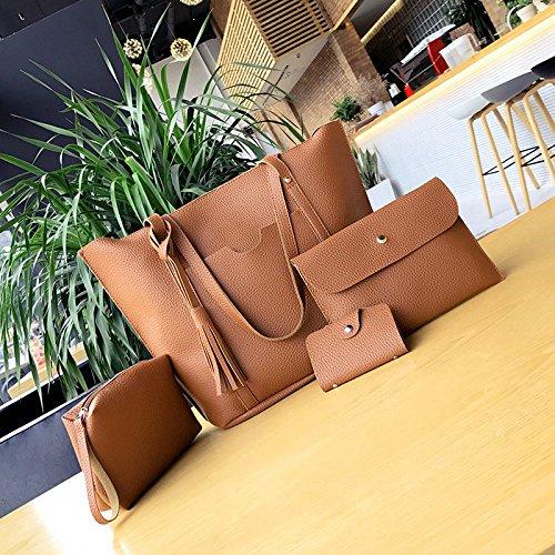 06ad8e916 Amazon.com  Women s handbag new four-piece handbag litchi grain ...