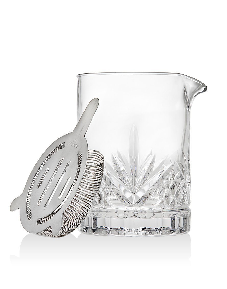 Dublin Collection Crystal Mixing Glass Pitcher Cocktail Shaker with Stainless Steel Julep Strainer by Godinger