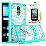 LG G Stylo Clear Case with HD Screen Protector, AnoKe [Scratch Resistant] Colorful Totem Mandala flower Acrylic Hard cover with Rubber TPU Bumper Hybrid Ultra Slim Protective For LS770- TM Mint