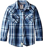 Levi's Kids Baby Boy's Barstow Plaid Western Shirt (Toddler) Dress Blues/Dutch Blue Button-up Shirt