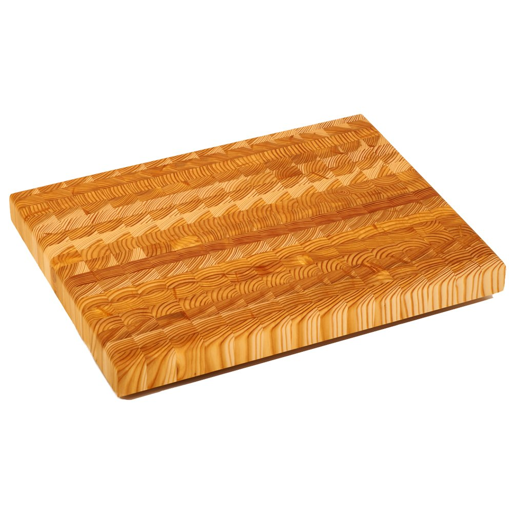 Larch Wood Canada End Grain Medium Cutting Board, Handcrafted for Professional Chefs & Home Cooking, 17-3/4 x 13-1/2 x 1-5/8 Plus Larch Wood Beeswax and Mineral Oil Conditioner (1.6 oz/ 45g)