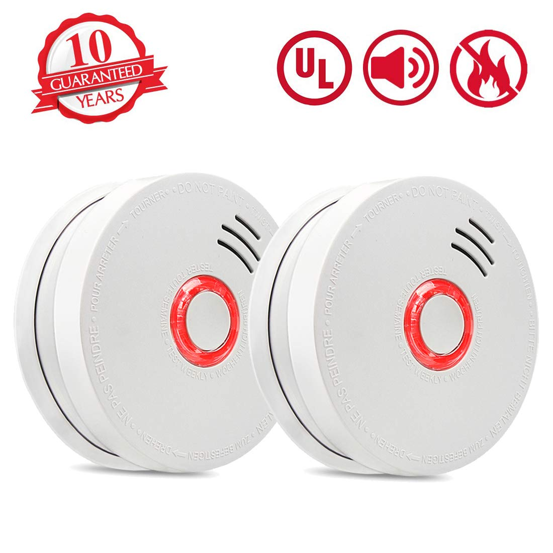 Smoke Detector Fire Alarm, 2 Packs Photoelectric Smoke Detectors with UL Listed, 9V Battery Operated Smoke Detector (9V Battery Included), 10 Years Life Time, Fire Safety for Home, Hotel, School etc