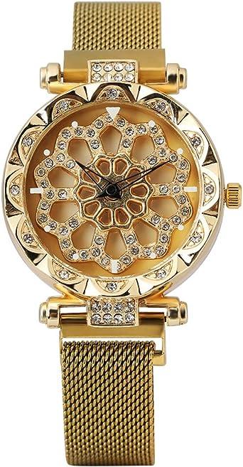 Reloj de Pulsera para Mujer con Caja Dorada de Diamantes ...