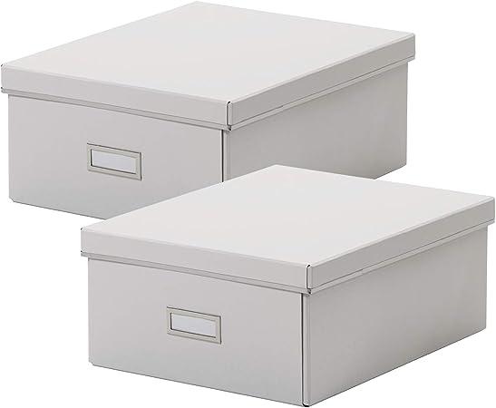 Ikea SMARASSEL - Juego de 2 cajas de almacenamiento (tamaño A4, 27 x 35 x 15 cm), color blanco, Cartón., Blanco, 2 unidades: Amazon.es: Hogar