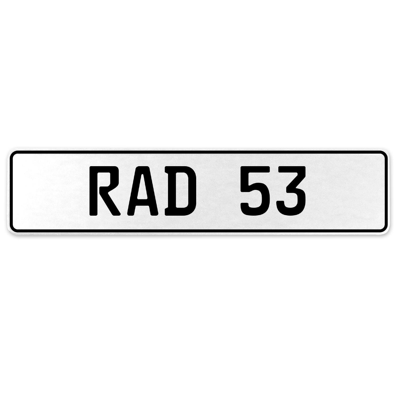 Vintage Parts 553957 RAD 53 White Stamped Aluminum European License Plate