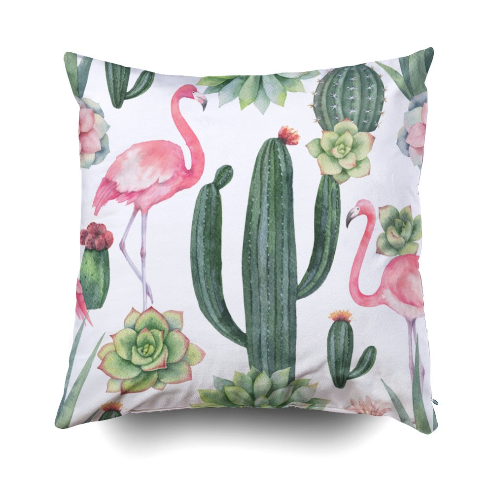 GROOTEY Square Pillow Case with Zippered for Home Sofa Decor 20X20Inch Costom Throw Cover Cushion Isolated Border Pink Flowers Leaves Vintage Watercolor Floral Pattern Leaf Rose Pastel