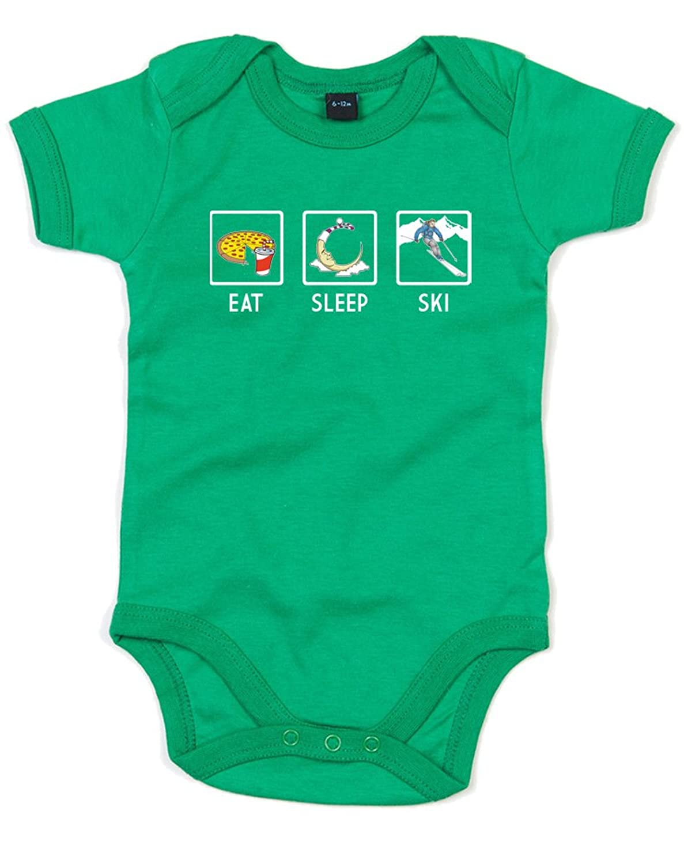 Eat Sleep Ski, Alt, Gedruckt Baby Strampler