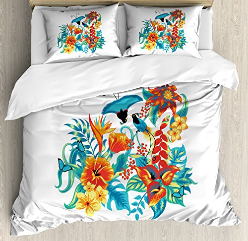 Ambesonne Flowers Duvet Cover Set, Tropical Exotic Jungle Foliage with Birds Hawaiian Island Flowers Retro, Decorative 3 Piece Bedding Set with 2 Pillow Shams, Queen Size, Turquoise Orange