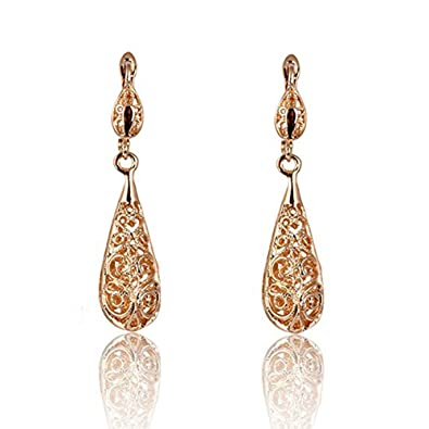 Lily Jewelry Ladies Fashion Sparkly Filigree Rose Gold Tone Water Drop Shape Drop Earrings for Women fV1a92PeeQ