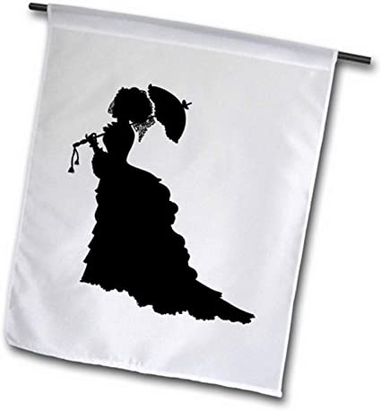 3drose Fl 39110 2 Victorian Lady In Black Silhouette Dress And Umbrella Garden Flag 18 X 27 Garden Outdoor