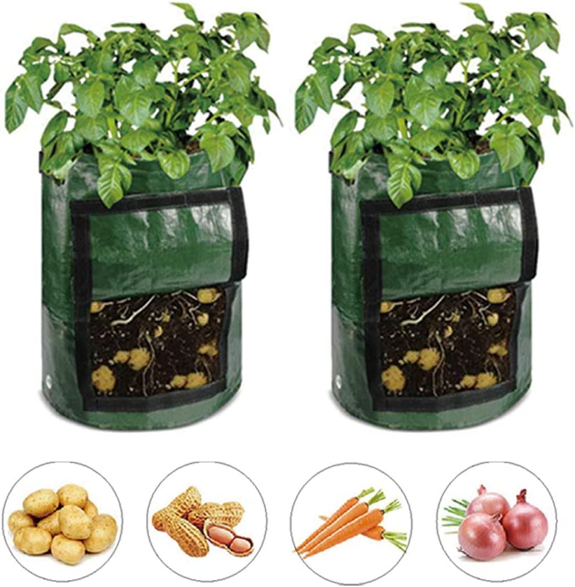 ZMFLL 2 Pack 7 Gallon Green Grow Bags Portable Potato Growing Bag Planter Bags Planting Pouch with Handles Access Flap for Thanksgiving