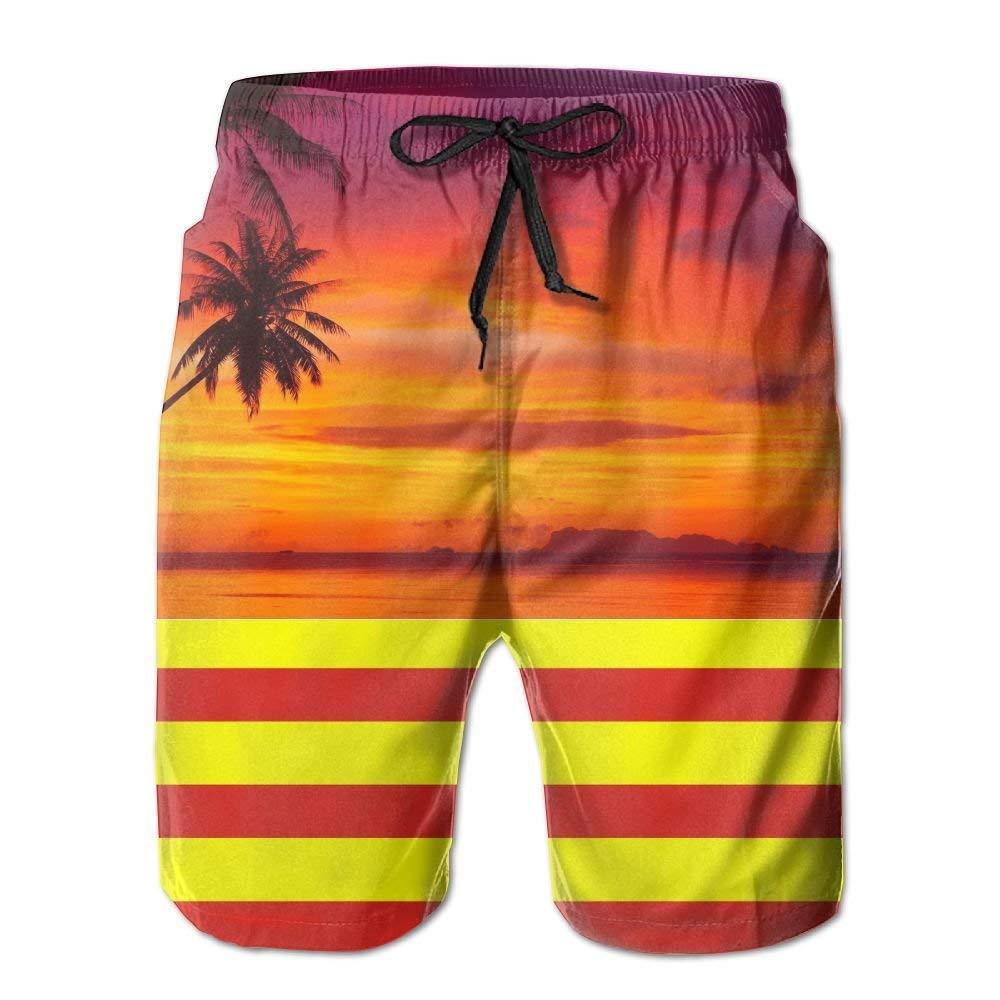 RDSMZ Palm Tree with Stripes Mens Summer Fashion Beach Board Shorts Breathable Surf Swim Trunks