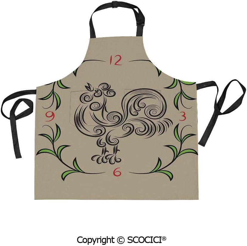 SCOCICI Printed Unisex Kitchen Bib Apron with Pockets Adjustable Neck,Rooster and Floral Art Decorative Clock Time Swirls Leaves Farm Animal Theme Decoration,for Cooking Baking Gardening