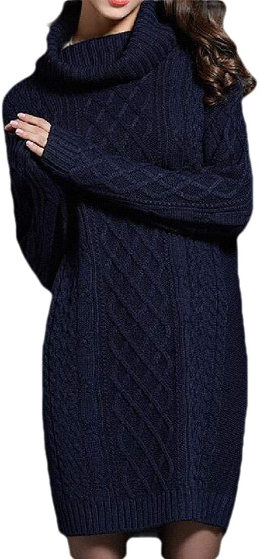 Fubotevic Women Plus Size Loose Longline Turtle Neck Dress Solid Knit Pullover Sweater