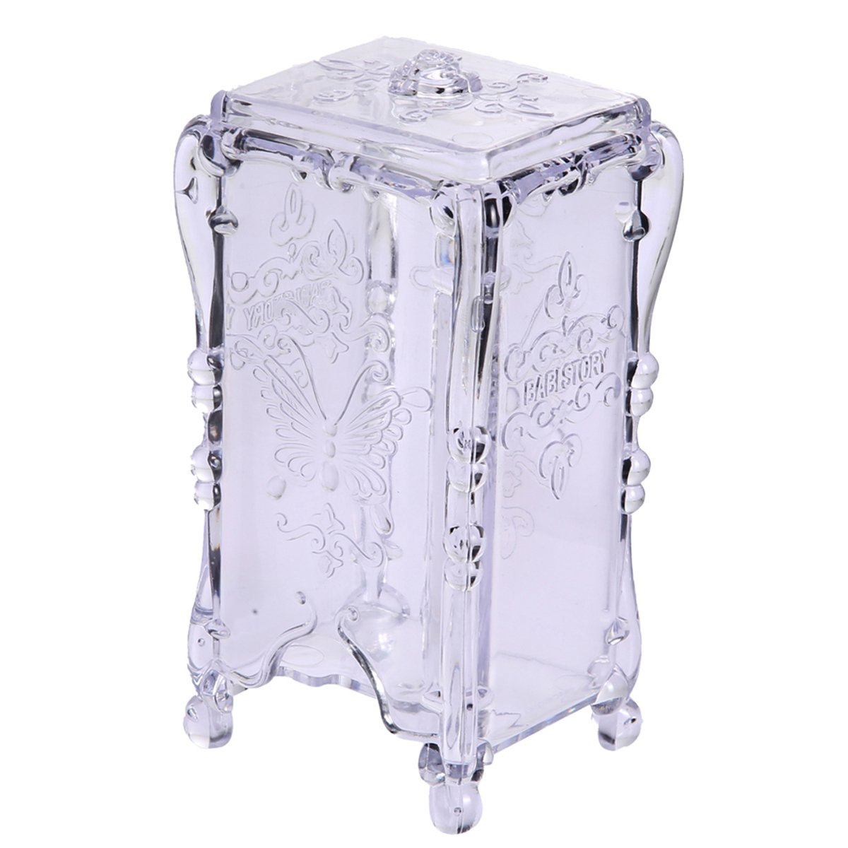 Jocestyle Makeup Cosmetic Cotton Pad Box Container Dispenser Clear Nail Art Remover Paper Storage Holder Organizer Case (02 Clear)