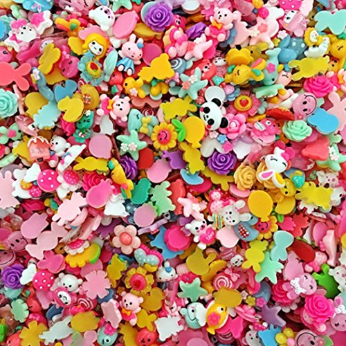 100 Pcs Mini DIY Cute Cartoon and animal Resin Hairpin Cell Phone Case Making Sticker Decorations Mixed Color