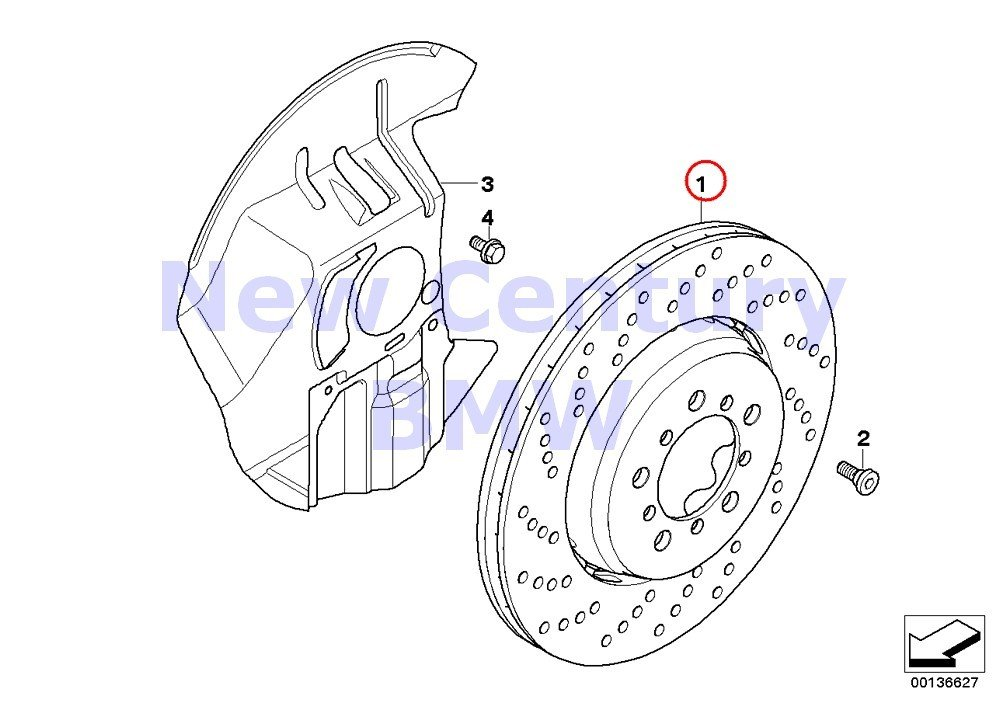 BMW Genuine Front Disc Perforated Right Perforated Brake Disc Ventilated 400X36 M6 M6 M5 M6 M6 M6 M6 by BMW